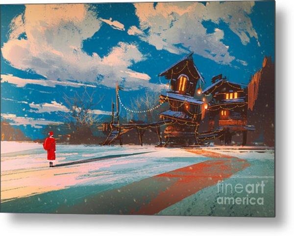 Winter Landscape With Wooden House At Metal Print