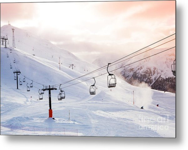 Winter Mountains Panorama With Ski Metal Print