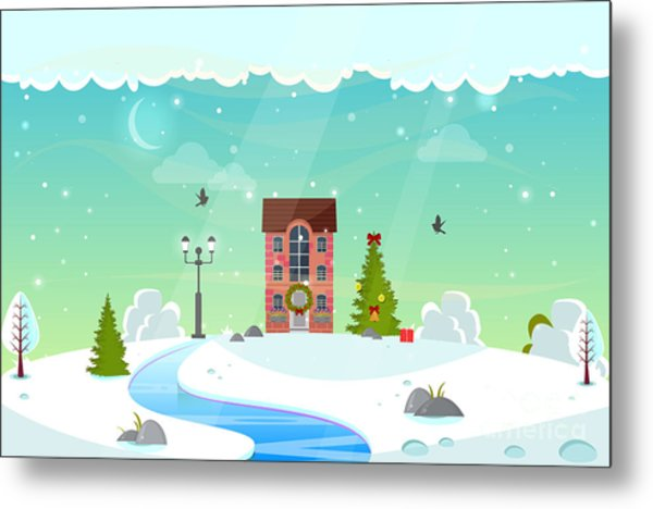 Winter Nature Landscape With River Metal Print