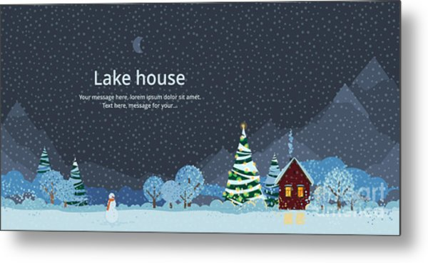 Winter Night, House In The Mountains Metal Print