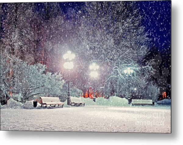Winter Night Landscape -  Evening In Metal Print by Marina Zezelina