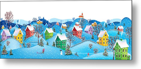 Winter Rural Landscape To A Happy Metal Print