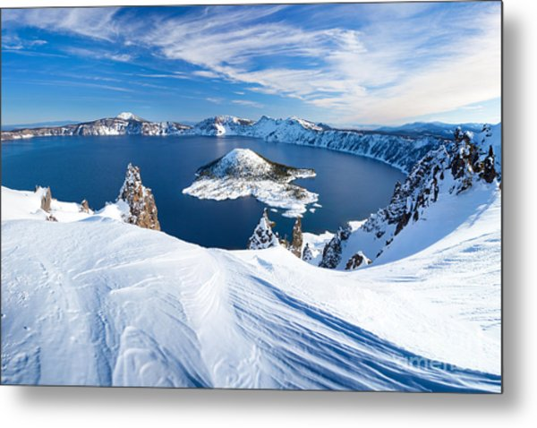 Winter Scene At Crater Lake Volcano Metal Print