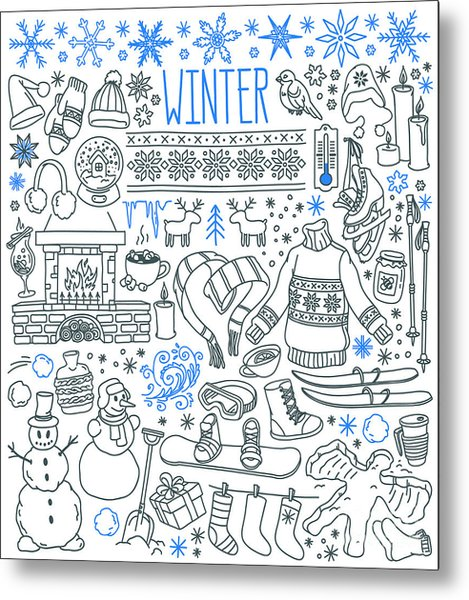 Winter Season Themed Doodle Set - Metal Print