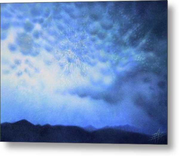 Winter Storm Or Mammatus Clouds Over Black Mountain Metal Print by Robin Street-Morris