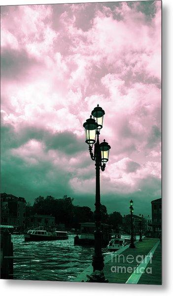 Winter Venice Lantern On The Embankment Metal Print