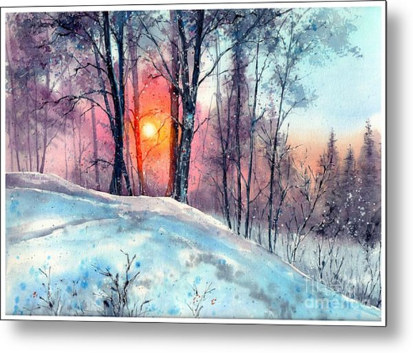 Winter Woodland In The Sun Metal Print