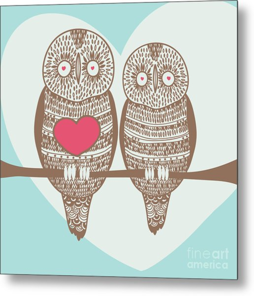 Wise Owl Couple On Tree Branch Under Metal Print