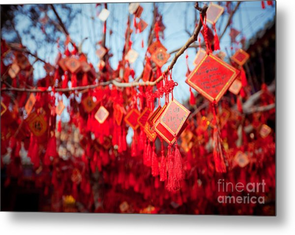 Wish Cards In A Buddhist Temple In Metal Print