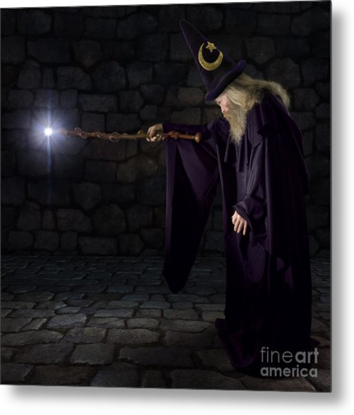 Wizard In A Purple Robe And Wizard Hat Metal Print by James Steidl