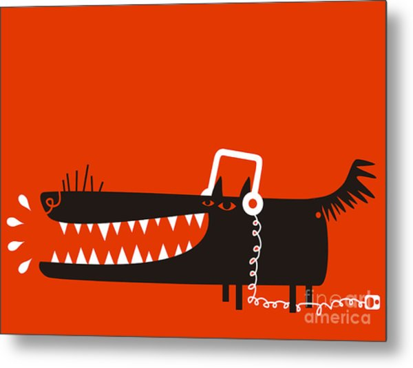 Wolf With Headphones Listens To Music Metal Print