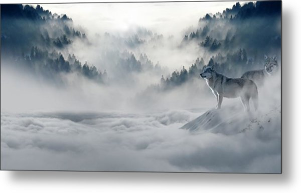 Wolfs In The Snow Metal Print