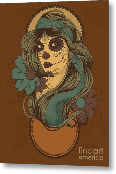 Woman As Sugar Skull With Detailed Hair Metal Print