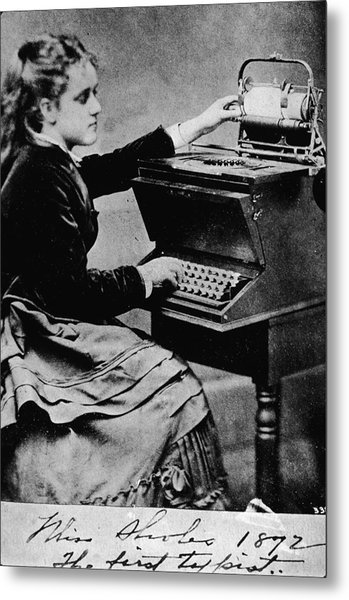 Woman At A Typewriter Metal Print by Hulton Archive