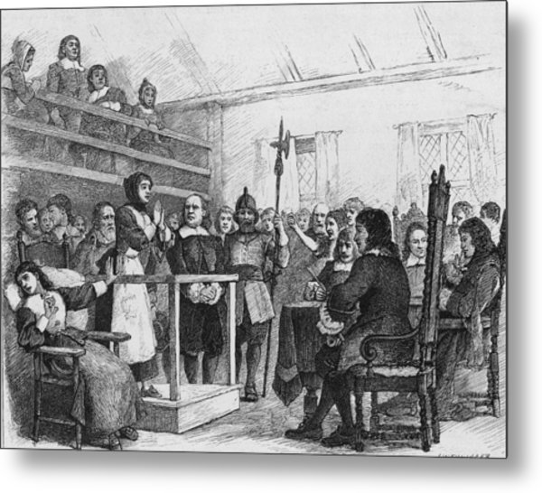Woman Being Tried For Witchcraft In Metal Print by Kean Collection