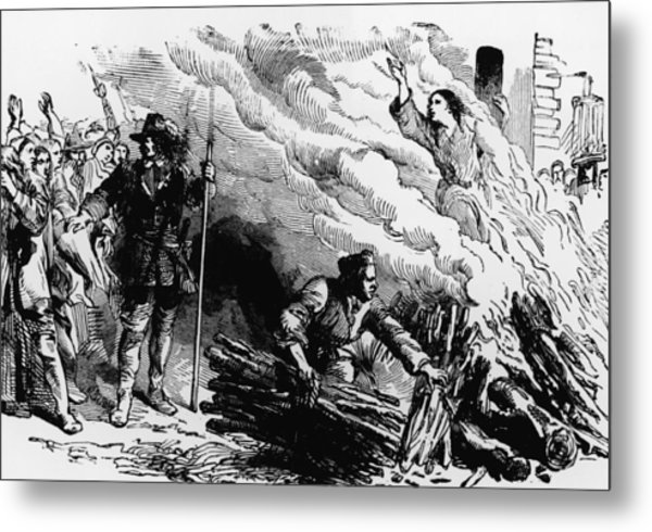 Woman Burned At Stake For Witchcraft Metal Print by Kean Collection