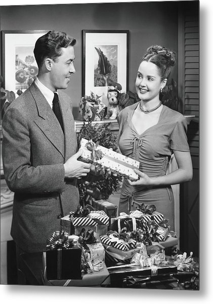 Woman Giving Gift To Man, B&w Metal Print