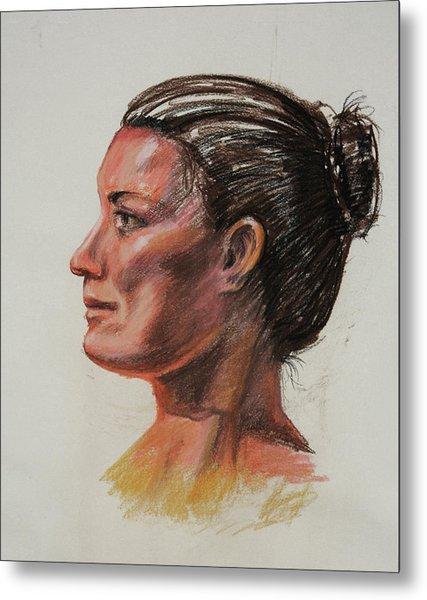 Woman Head Study Pastel Portrait  Metal Print