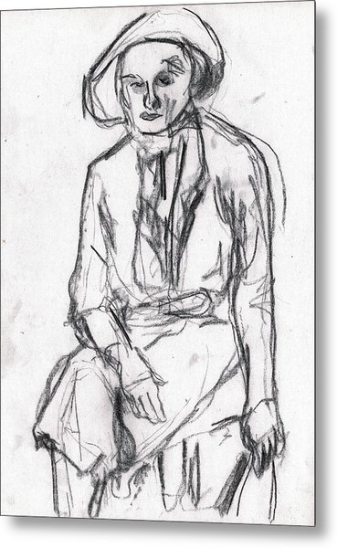Woman In A Hat Drawing Metal Print