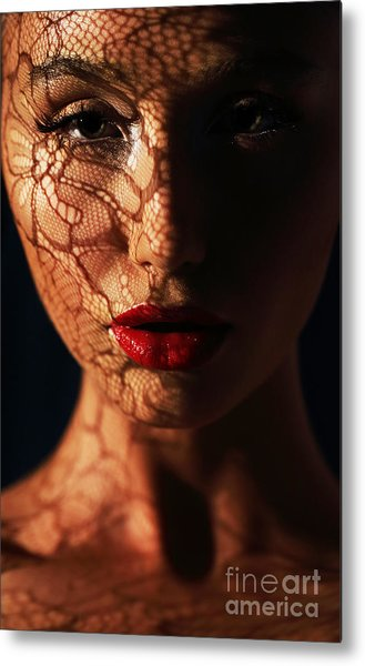 Woman In Shadows With Reflection Of Metal Print