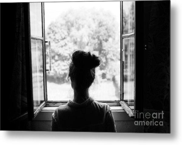 Woman Looking Through The Old Window On Metal Print