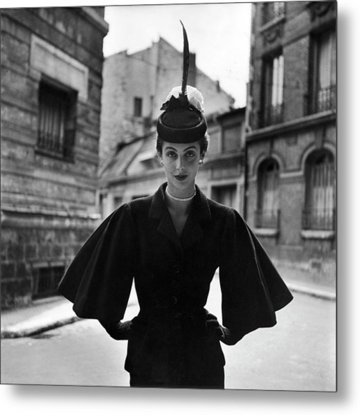 Woman Modeling A Full Sleeved Suit Metal Print by Gordon Parks