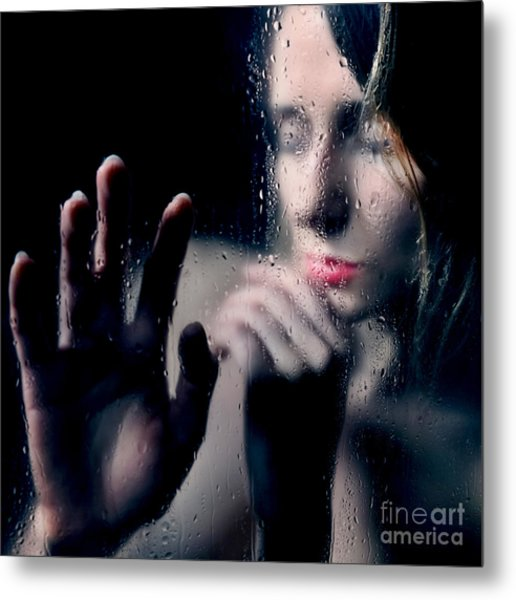 Woman Portrait Behind Glass With Rain Drops Metal Print