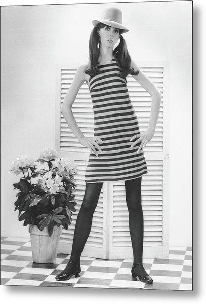 Woman Posing In Studio, B&w, Portrait Metal Print