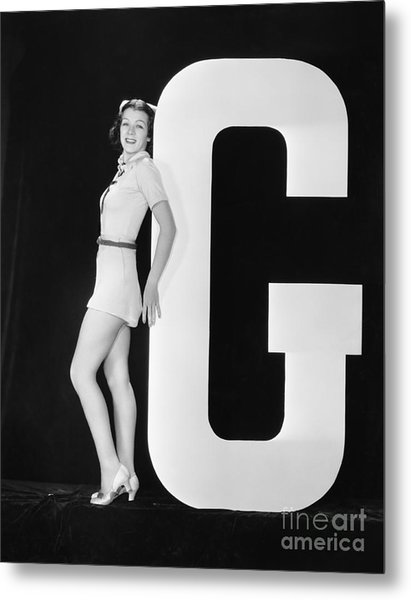 Woman Posing With Huge Letter G Metal Print