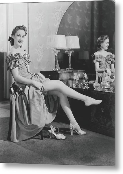 Woman Sitting At Vanity Table, Putting Metal Print by George Marks