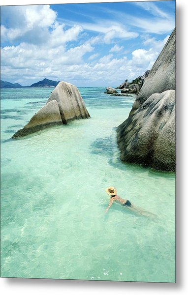 Woman Swimming Close To Shore Beside Metal Print