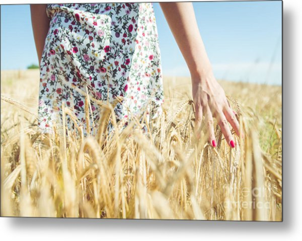 Woman Walking In The Wheat- Concept Metal Print