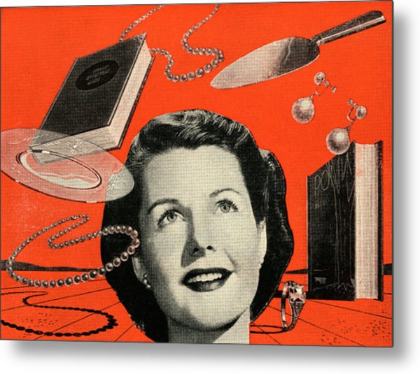 Woman With Consumer Goods Metal Print by Graphicaartis