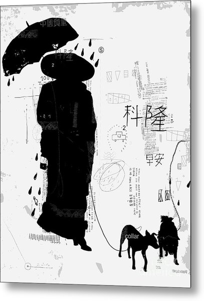 Woman With Dog Translation Chinese Metal Print
