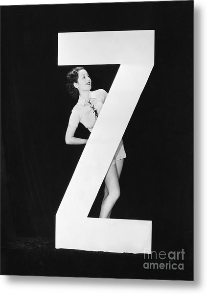 Woman With Huge Letter Z Metal Print