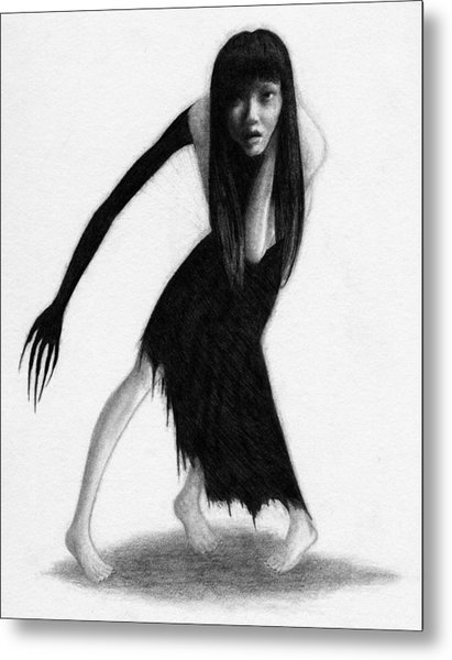 Woman With The Black Arm Of Demon Ghost - Artwork Metal Print