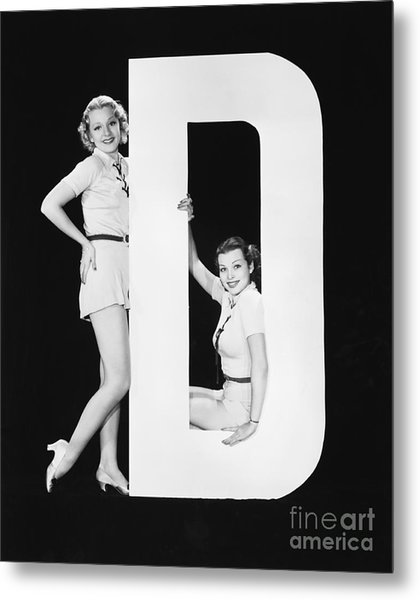 Women Posing With Huge Letter D Metal Print