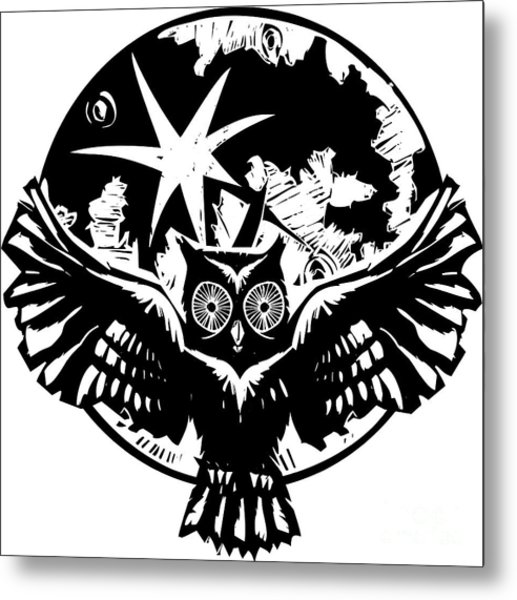 Woodcut Flying Owl With Feathered Wings Metal Print