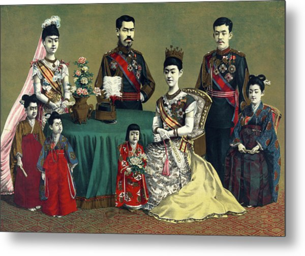 Woodcut Illustration Shows A Group Metal Print