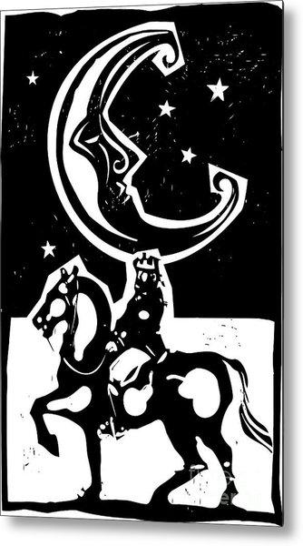 Woodcut Style Moon And Mounted King On Metal Print