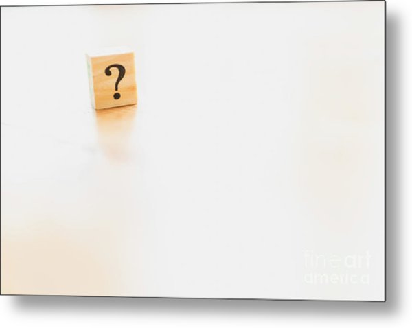 Wooden Dice With Question Mark And Doubt. Metal Print