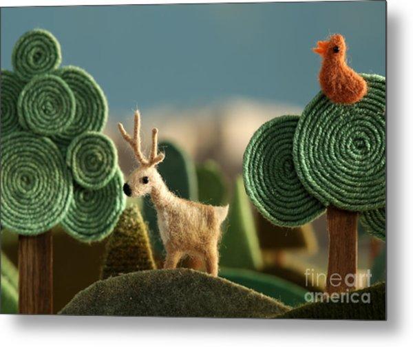 Woods Closeup With Deer And Bird On The Metal Print