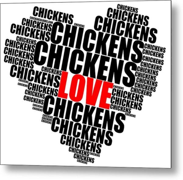 Wordcloud Love Chickens Black Metal Print