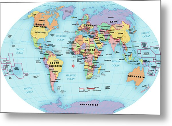A Map Of The World With Labels.World Map Continent And Country Labels By Globe Turner Llc