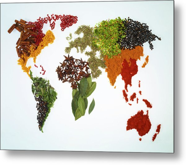 World Map With Spices And Herbs Metal Print by Yamada Taro