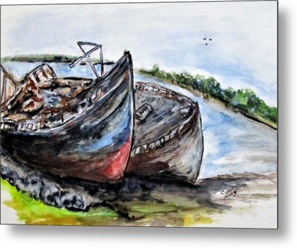 Wrecked River Boats Metal Print