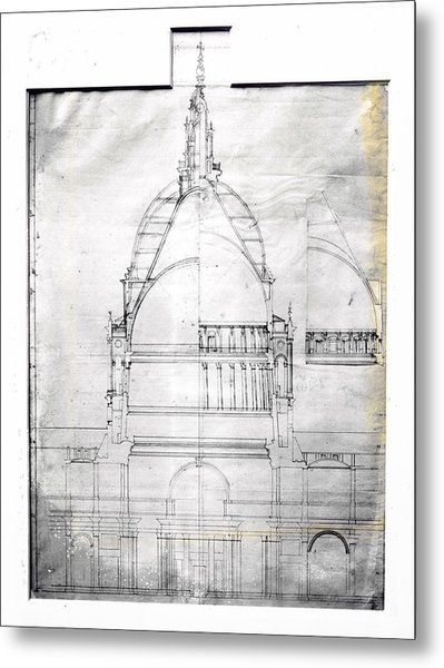 Wrens Plan Of St Pauls Metal Print by Topical Press Agency