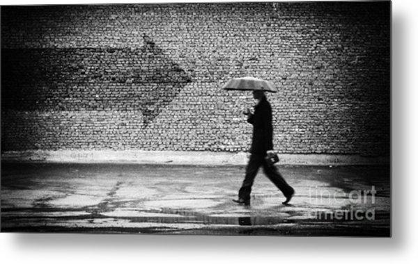 Wrong Way. A Man With Umbrella Metal Print