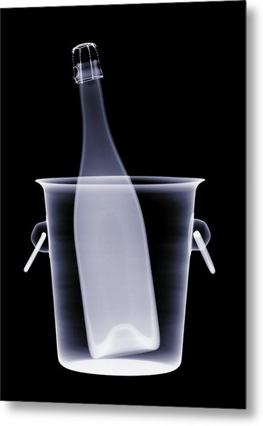 X-ray Of A Bottle Of Champagne In An Metal Print