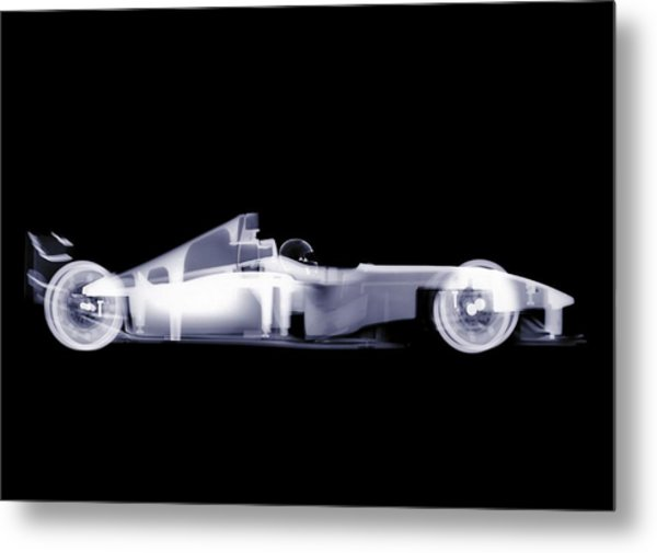 X-ray Of A Toy Formula One Race Car Metal Print by Nick Veasey
